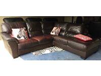 Can Deliver- Brown Leather Corner L-shape Sofa