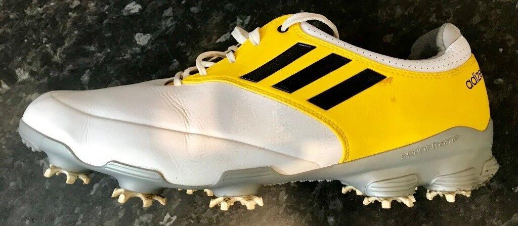 e61cba8b35c35f Mens Adidas Adizero Tour Golf Shoes White Yellow UK Size10 1 2  Waterproof-VGC