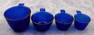 COBALT BLUE GLASS 4 PC MEASURING CUP SET ~ 1/4, 1/3, 1/2, 1 Cup ~