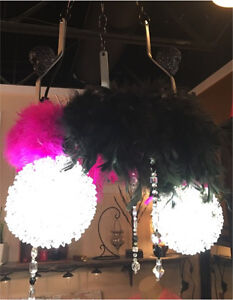 SKULL and feather chandelier!!