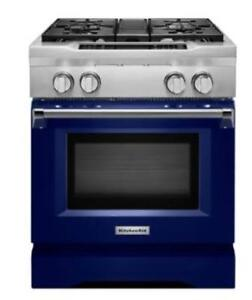 KITCHENAID KDRS407VBU 30 4-BURNER DUAL FUEL FREESTANDING RANGE (BD-1497)