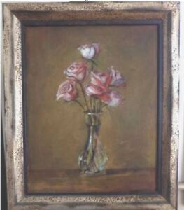 VALENTINE'S DAY: Oil painting Original FLOWERS / Italian Frame