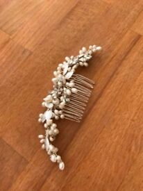 Bridal hair accessory - pearl leaf detail hair slide