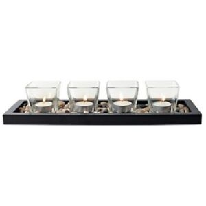 4 piece square votive candle set with tray Kitchener / Waterloo Kitchener Area image 1