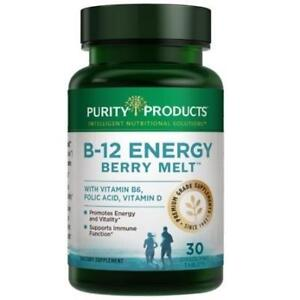 NEW PURITY B-12 ENERGY SUPPLEMENT 188949890 PURITY PRODUCTS 30 TABLETS DIETARY SUPPLEMENTS VITAMINS BERRY MELT