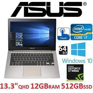 "NEW ASUS 13.3"" TOUCHSCREEN LAPTOP - 128201299 - ZENBOOK INTER CORE I7 12GB RAM 512GB SSD NVIDIA GT940M 64BIT COMPUTER..."