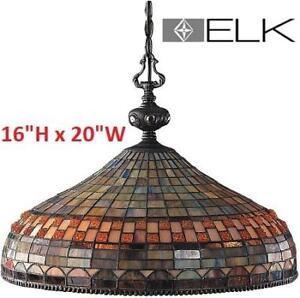"NEW ELK JEWEL STONE 3-LIGHT PENDANT 611-CB 221402841 16"" CLASSIC BRONZE TIFFANY STYLE GLASS HOME HOUSE DECOR"