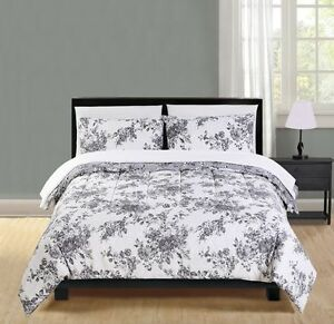 Brand new 7 piece Microfiber White Floral Bed-in-a-Bag
