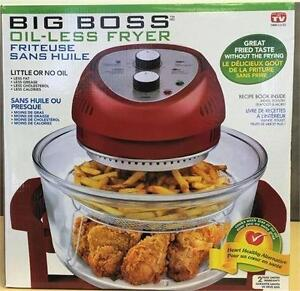 NEW, Big Boss 1300-Watt Oil-Less Fryer, 16-Quart As Seen on TV- RED