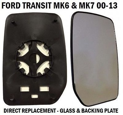 FRONT DOOR WING MIRROR GLASS FORD TRANSIT MK6 MK7 2000 2014 DRIVERS RIGHT SIDE