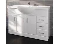 Brand New Gloss White Vanity/Basin/Bathroom Unit