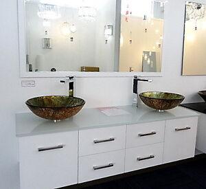 Bathroom Vanity Unit ART Glass TOP Gloss Cabinet 1500mmW Basins Underwood Logan Area Preview