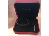 Cartier 18k love bracelets with screwdriver silver gold and rose gold
