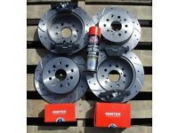 BMW Z3 1999-06 Front + Rear Drilled Grooved Brake Discs + Pads + brake cleaner