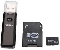 16GB TF Micro Class10★+SD Card Adapter★+Lecteur Reader USB2★NEUF