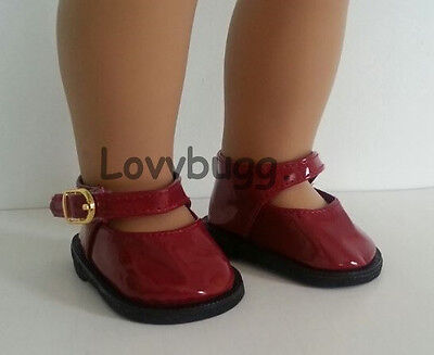 """Lovvbugg DEEP RED Patent Mary Janes for 18"""" American Girl or Bitty Baby Doll Shoes"""