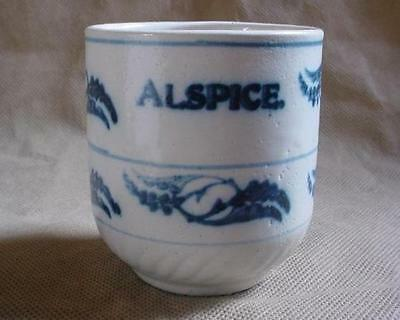 RARE 1900'S MINIATURE BLUE WHITE ALLSPICE STONEWARE POTTERY SPICE JAR BRUSH MCOY