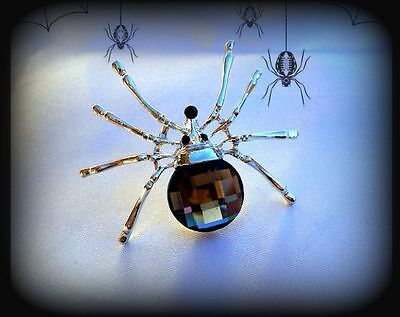 VINTAGE STYLE BLACK CRYSTAL RHINESTONE SILVER SPIDER PIN BROOCH~HALLOWEEN GIFT