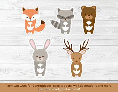 Woodland Animals Party Cutouts Decorations - Woodland Baby Shower Decorations