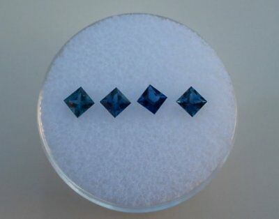 4 Blue Sapphire Princess Loose Faceted Natural Gems 3mm each