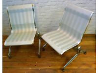 Mid century pair vintage Italian aluminium chrome lounge chairs modernist retro