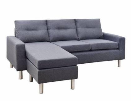 Brand New Dark Grey Faux Linen Fabric Sofa with Ottoman