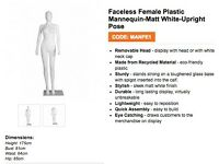4 X FEMALE MANNEQUINS 3X 6' WHITE RAILS & BOX OF 50 COAT HANGERS. ONLY USED ONCE FOR FILM SHOOT!