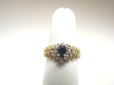 Diamond Blue Pear Sapphires Ring - Blue Sapphire and Diamond Textured Cluster Ring 14KYG Pear Shape, Nice!