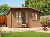 Dunster House Premium Plus Pressure Treated Rhine Log Cabin W4.0m x D3.0m (Brand New)
