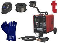 Sealey MIGHTYMIG150 Gas/No-Gas MIG Welder 150A + Helmet + Flux Wire + Gauntlets