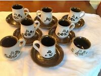 Denby pottery Shamrock pattern coffee set, six cups, six saucers, sugar bowl and cream jug