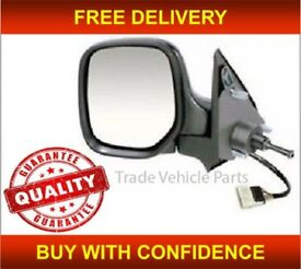 PEUGEOT PARTNER 1996-2008 DOOR WING MIRROR HEATED MANUAL BLACK LEFT SIDE NEW FREE DELIVERY