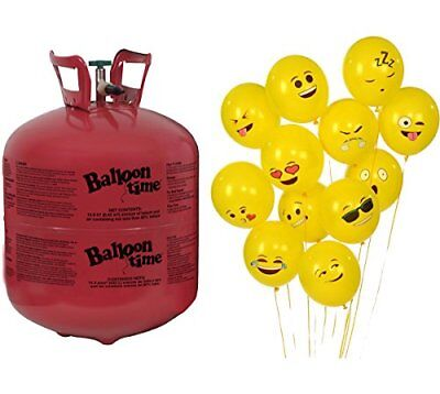 72 Emoji Balloons - Balloon Time Disposable Helium Tank 14.9 cu.ft