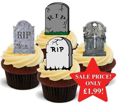 Halloween Gravestone Grave Yard Mix Stand Up Premium Card Cake Toppers - Halloween Cakes Graveyard