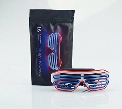 Illuminated Apparel Blue  Red Neon LED Light Up Glasses Glow Party  Festival