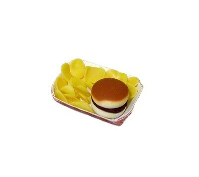Dollhouse Handcrafted Hamburger & Chips in a Basket 1:12 Doll House Miniatures for sale  Tupper Lake