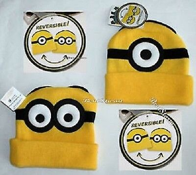 Despicable Me Minions Reversible Watchman Beanie Hat BRAND NEW Licensed Product
