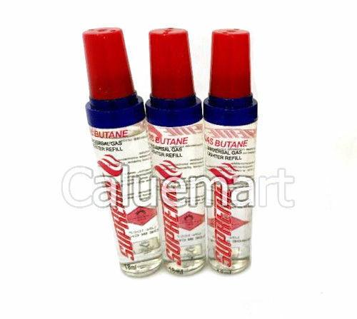 3 Pcs of BUTANE Refill 18 ml fuel fluid for Lighter Single D