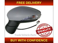 FORD FIESTA 2013- DOOR WING MIRROR HEATED ELECTRIC PRIMED LEFT MANUAL FOLD NEW FREE DELIVERY