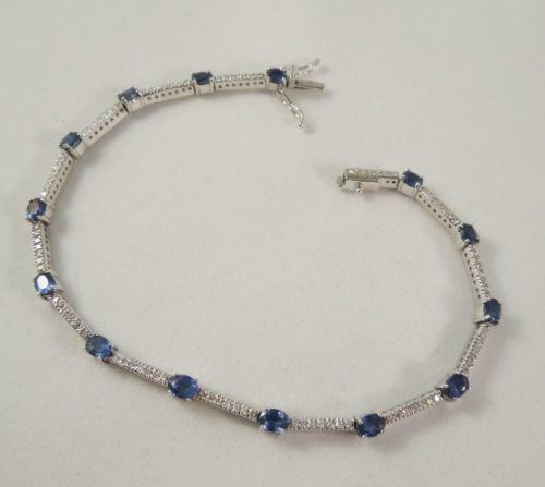 Blue Sapphire And Diamond Bracelet Ebay