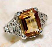 Sterling Silver Citrine Ring Size 8