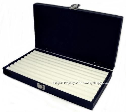 1 Wholesale Solid Top Lid White 8 Row Ring Display Portable Storage Boxes Case