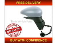 FORD FIESTA 2013- DOOR WING MIRROR HEATED ELECTRIC PRIMED RIGHT POWER FOLD NEW FREE DELIVERY