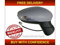 FORD FIESTA 2013- DOOR WING MIRROR HEATED ELECTRIC PRIMED RIGHT MANUAL FOLD NEW FREE DELIVERY