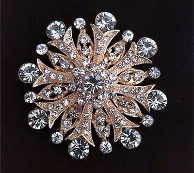 Luxury Gorgeous Astral Cross Gold Tone RhineStone Crystal Bridal Brooch Pin