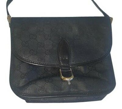 Gucci Black Vintage Monogram Leather Evening Purse