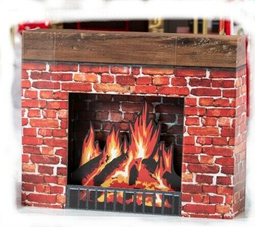Faux STurdy Christmas Winter Cabin Cardboard Fireplace Hearth Home church work