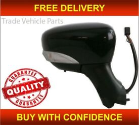 RENAULT CLIO 2013- DOOR WING MIRROR HEATED ELECTRIC BLACK WITH INDICATOR RIGHT NEW FREE DELIVERY