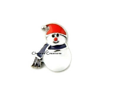 Snowman With Scarf And Hat Christmas Holiday Floating Charm For Lockets - Floating Lockets And Charms