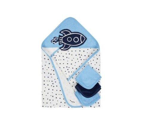 Gerber Baby Boy 4-Piece Organic Cotton Navy Rocket Terry Bath Set